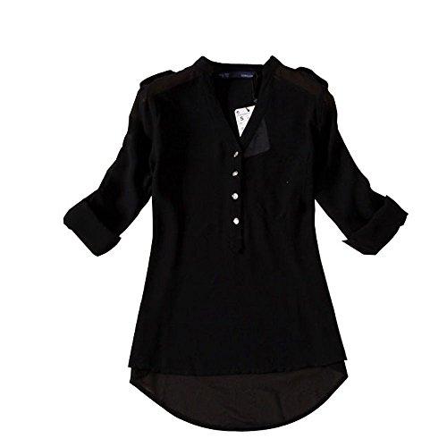 56225fa5f14 Yoyorule Women Spring Summer V-Neck Chiffon Long Sleeve Shirt Blouse at  Amazon Women's Clothing store
