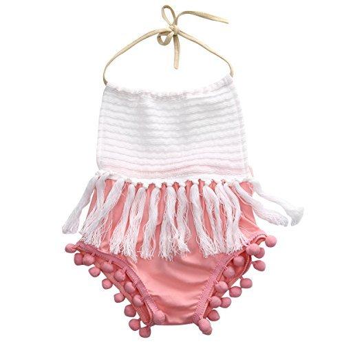 (Baby Girls Halter Backless Splice Tassels Pompom Bodysuit)