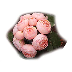 Carton Packaging 1 Bunch Bridal Bridesmaid Wedding Tea Rose Bouquet Artificial Flowers Home Party Decorative,Champagne 114
