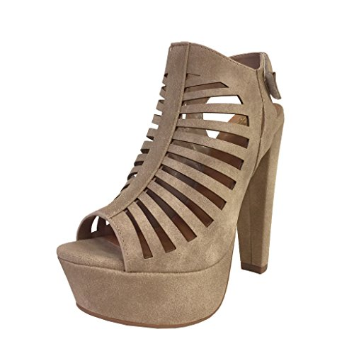 Speed Limit 98 Manji Women's Peep Toe Slingback CutOut Platform Chunky Heel Sandals,8.5 B(M) US,Light Taupe Nubuck - Shoe Platform Casual Heel Chunky