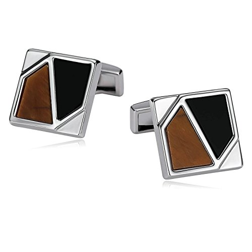 KnSam Cufflinks for Men Stainless Steel Framed Rectangle Engraved Geometry Black Yellow