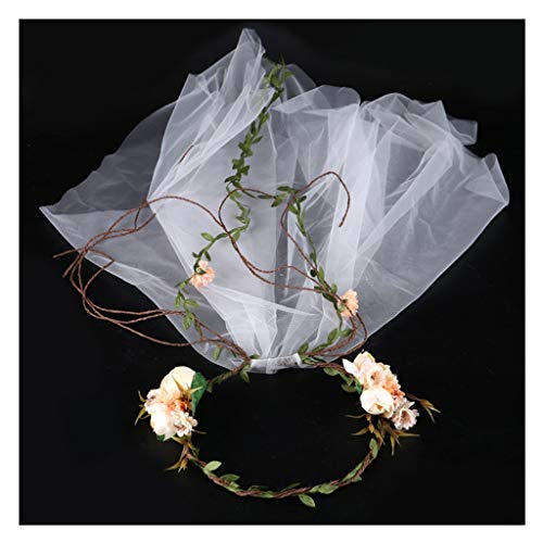 (Wreath Flower Veil Bride Dress Accessories Garland Color Flower Tiara Hair Band Hair Accessories (Size : 90cm))