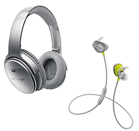 Bose QuietComfort 35 (Series I) Noise Cancelling Over-ear (Silver) & SoundSport In-ear (Citron) Wireless Bluetooth Headphone (In Ear Noise Cancelling Bose)