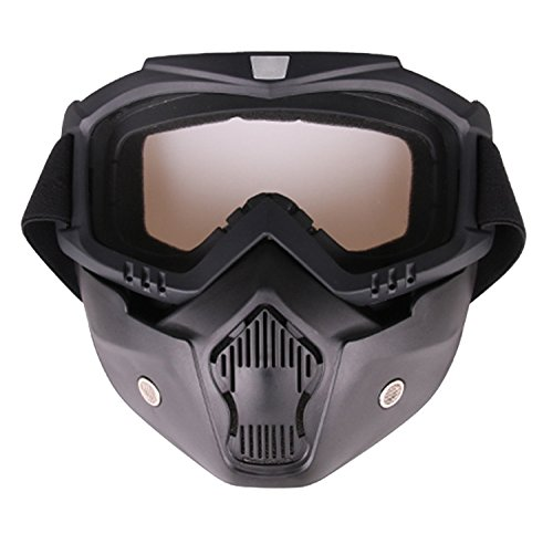PiscatorZone Goggles Mask Tactical Goggles with Detachable Face Mask for Cycling Skiing Outdoor CS Paintball ()