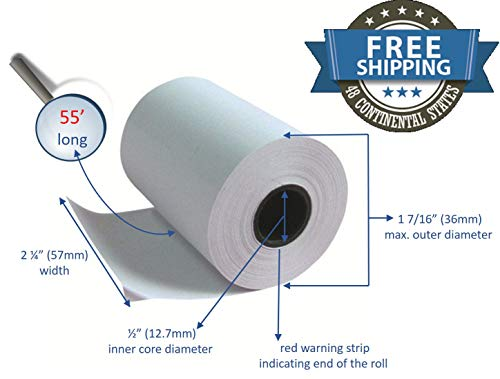 Clover Flex Mini and Mobile 2 1/4 x 55 Thermal Paper Rolls (10 rolls) ()