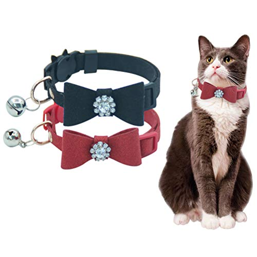 HOMIMP 2 Pack Cat Collar Set Breakaway with Diamonds Bowtie Bell for Kitty, Black and Red -