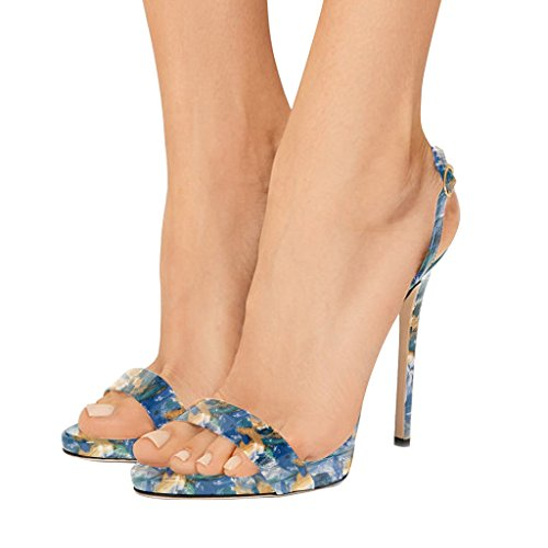 Floral High Heel - FSJ Women Sexy High Heel Stiletto Sandals Ankle Strap Slingback Open Toe Evening Shoes Size 5 Blue Floral