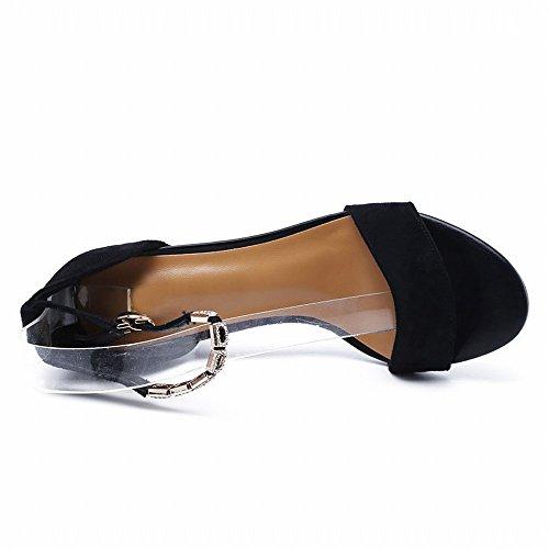 Romanos Sandalia Hebilla Tacón una Sandalias Zapatos 38 Moda 2018 Femenina de Zapatos Gamuza Alto de CXY Gruesa con UN AawxtCaq