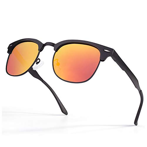 GQUEEN Horn Rimmed Al-Mg Half Frame Polarized Sunglasses GQF8 (1g Tint)