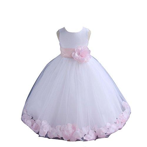 - ekidsbridal White Floral Rose Petals Flower Girl Dress Birthday Girl Dress Junior Flower Girl Dresses 302s 2