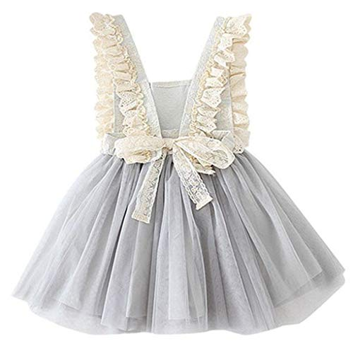 (2Bunnies Girl Vintage Lace Bib Tulle Tutu Bow Eyelet Princess Party Dress (Light Gray, 4T))