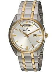 Bulova Mens Classic Quartz Stainless Steel Casual Watch, Color:Two Tone (Model: 98C127)