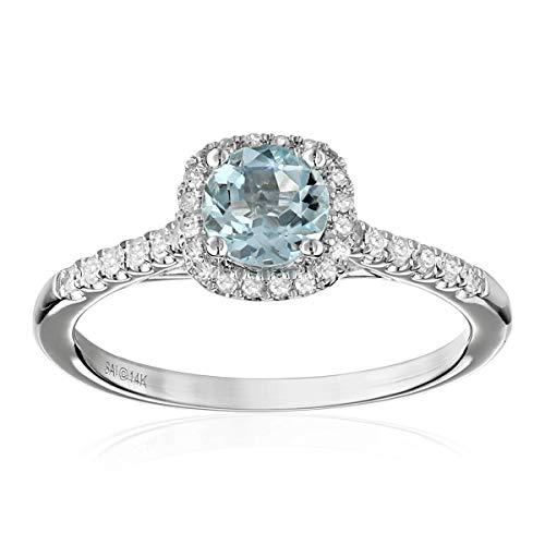 - 14k White Gold Aquamarine and Diamond Cushion Halo Engagement Ring (1/5 cttw, H-I Color, I2-I3 Clarity), Size 7