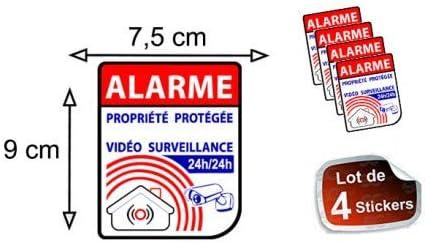 Autocollant Alarme propri/ét/é sous vid/éo surveillance alarme logo 64 sticker x4