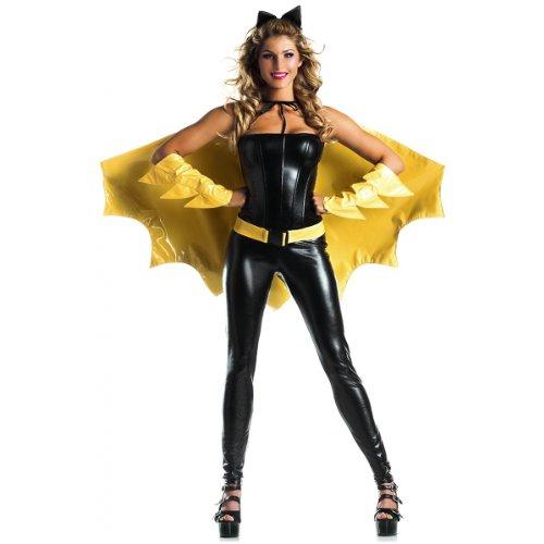 Batwoman Corset (Be Wicked Costumes Women's Crimefighting Crusader Batgirl Costume, Black/Yellow, Small/Medium)