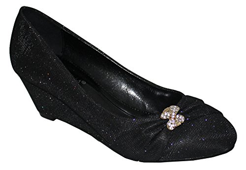 Chic Feet Ladies Black Glitter Party Prom Bridesmaid Evening Low Heel Wedge Court Shoes le4vQHFa