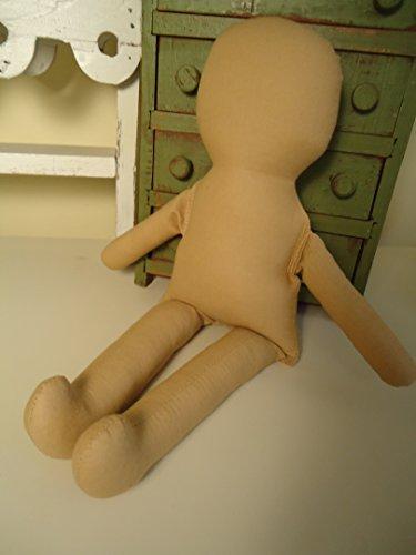 "1 Dark Antique TAN 15"" Rag Doll Body-Form-Blank-Cotton-katiesdolls"