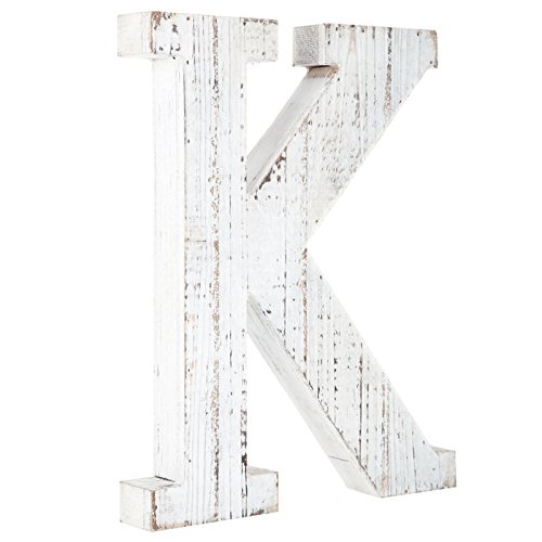 Distressed White Alphabet Wall Décor/Free Standing Monogram Letter K (Nicole Wall Hangings)