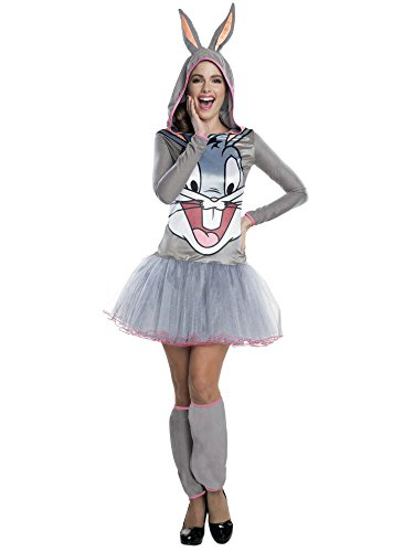 Rubie's Costume Co Women's Looney Tunes Bugs Bunny Hooded Costume Dress, Gray, Small
