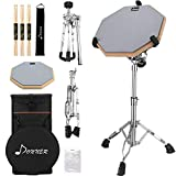 Donner Drum Practice Pad With Snare Drum Stand Adjustable Kit, Included 12 Inches Drum Pad Double Sided with Drumsticks, Fit 10''-14'' Dia Drums