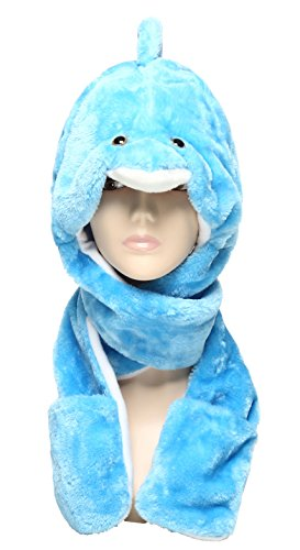 Dolphin Costumes For Kids (Winter Hats in Cute Animal Cartoon Style Soft & Warm (Blue Dolphin))