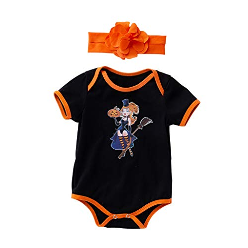 Price comparison product image Toddler Baby Kid Girl Boys Halloween Pumpkin Romper Bodysuit Playsuit Hairband Black