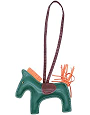 OULII Patchwork PU Leather Sewing Tassel Cute Lovely Creative Widget Hanging Toy Pony Pendant (Dark Green)