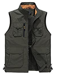 JEWOSOR Mens Outdoors Quick-Drying Travel Sports Pockets Vest Waistcoat Outerwear