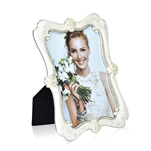 (Wedding Photo Frame Silver Plated Picture Frame - EPOXY Zinc Alloy Arc Pearl 5x7 Inch Metal Marriage Picture Frame - Inlay Rhinestones Photo Frames Blocks for Family Love Baby)