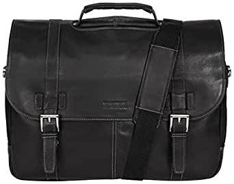 """Kenneth Cole Reaction """"Show Business"""" Colombian Leather Double Compartment Flapover Portfolio/Computer Case With Pull Through Handle/ Fits Most  15.4"""" Laptops, Black, One Size"""