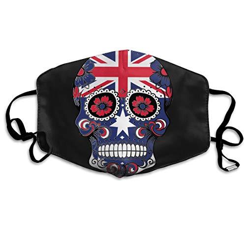 Sugar Skull and Flag of Australia Mouth Mask Unisex Printed Fashion Face Mask Anti-dust -