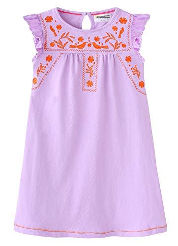 Fiream Girls Cotton Casual Longsleeve Cartoon Stripe Dresses(JP018,9-10 Years) ()