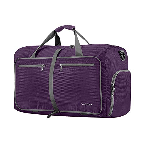 (Gonex 40L Packable Travel Duffle Bag for Boarding Airline, Lightweight Gym Duffle Water Repellent & Tear Resistant Purple)