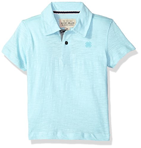 Lucky Brand Boys' Big Short Sleeve Polo, Washed Plume, Large (14/16) by Lucky Brand
