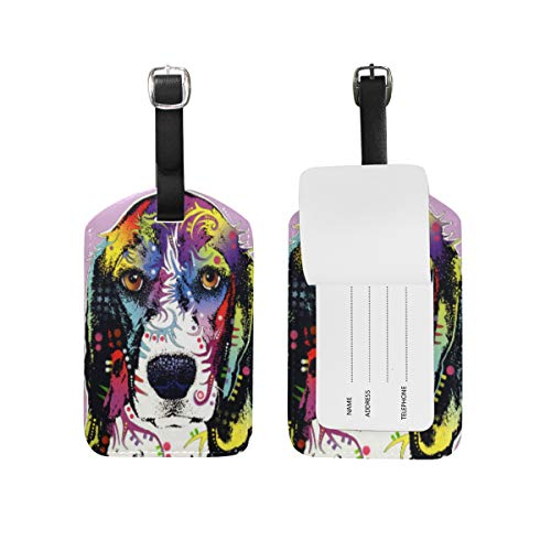 Abstract Beagle Art Leather Luggage Baggage Card Suitcase Tag ID Label for Travel (1Pcs)