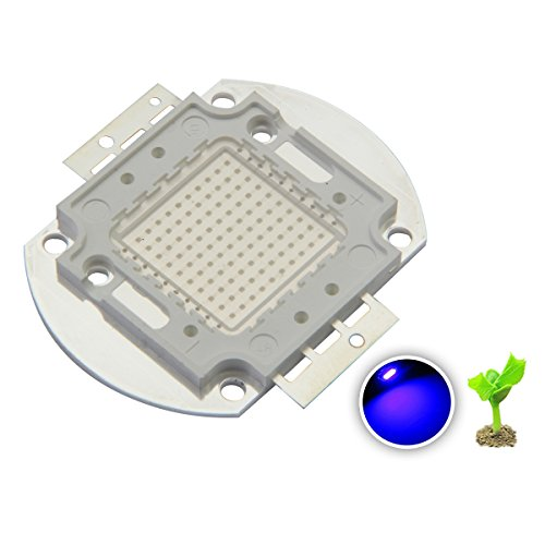 Chanzon High Power Led Chip 100W Royal Blue Plant Grow Light (440nm-450nm / 3000mA / DC 30V-34V / 100 Watt) SMD COB Emitter Diode Components 100 W Bead for DIY Hydroponic Aquarium Growing (Blue Power)
