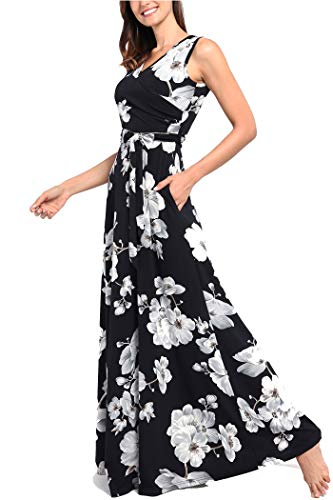 Comila Floral Dresses for Women Casual Beach Holiday, Sexy Warp V Neck High Waist with Bow Fashion Vintage Floral Printed Sleeveless Casual Tank Dress with Pockets Black M(US8-10) by Comila (Image #3)