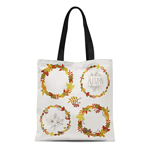 Semtomn Canvas Tote Bag Shoulder Bags Autumn Leaves Round Frames Collection Fall Circle Shaped Featuring Women's Handle Shoulder Tote Shopper Handbag