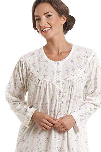 Da Notte Donna Con Cfhjn Lunghe Camicia Home Classica Color A Rosa Avorio Maniche 6xw41R