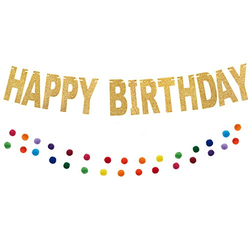 Blue Panda Happy Birthday Gold Glitter Felt Party Banner and Rainbow Pom Garland (2 Pack) -