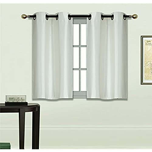 gorgeoushome n25 2 small grommets panels window curtain semi sheer drape treatment size 30 x 36 each in many solid colors ivory - Small Window Curtains