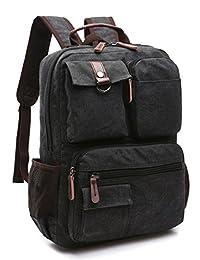 Aidonger Vintage Canvas School Backpack Laptop Backpack 15-Inch (Black)