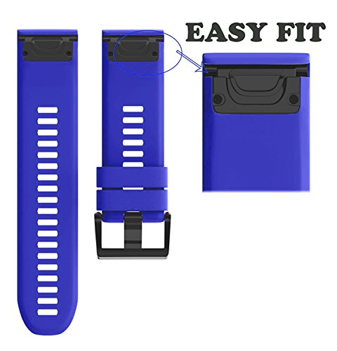 ANCOOL Compatible Garmin Fenix 5X Band Easy Fit 26mm Width Soft Silicone Watch Strap Replacement for Garmin Fenix 5X/Fenix 3/Fenix 3 HR - Royal Blue