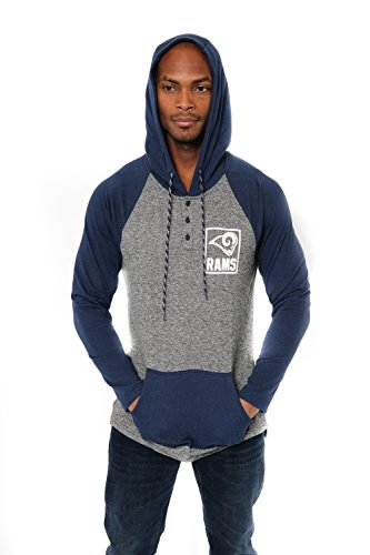 NFL Los Angeles Rams Men's Henley Raglan Team Color Pullover Hoodie Sweatshirt, Navy, Large