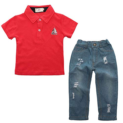 Kids Clothing Boys Casual Short Sleeved Shirt and Denim Jeans Sets Outfits (2-3 Years Old, Red) -