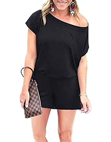 6f712970a67c PRETTYGARDEN Women's Summer Casual Off Shoulder Short Sleeve Shorts Loose  Jumpsuit Rompers with Pockets