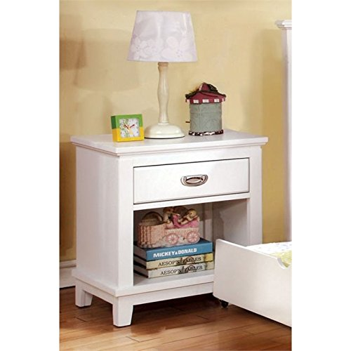 Furniture of America Hailey 1 Drawer Nightstand in White by Furniture of America