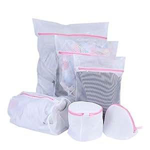 Elenxs 6 Pcs Mesh Delicate Laundry Bra Lingerie Bags with Zipper Net Nylon Underwear Saver Protection for Washing Machine