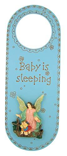Baby is Sleeping Guardian Angel Nursery Door Knob Hanger, 10 Inch (Blue)