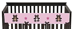 Sweet Jojo Designs Pink Teddy Bear Long Front Rail Guard Baby Teething Cover Crib Protector Wrap
